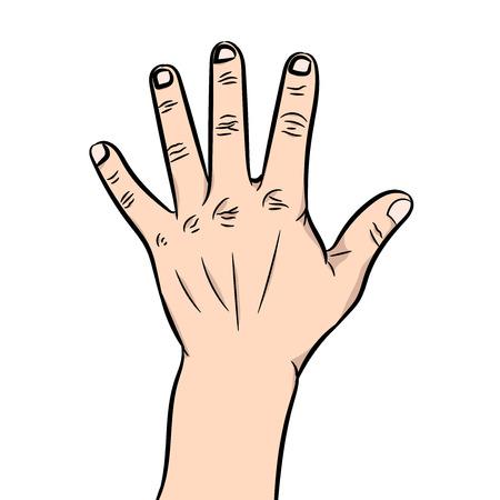 Ilustración vectorial de una mano con la palma excavada y los dedos que sobresalen en las fiestas sobre un fondo blanco.