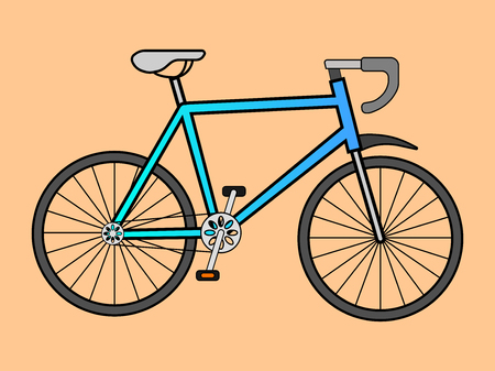 Vector illustration of the sports bicycle against the background of Vectores