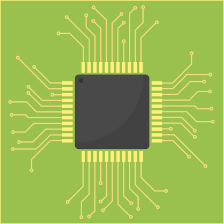 Vector illustration of the electric circuit with the processor on a green background Ilustração
