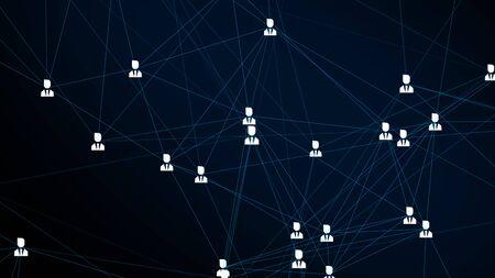 Renderizar el fondo modernista del signo de usuario conectado por líneas de colores azules con fondo negro borroso