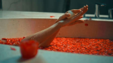 Young European girl long-haired brunette lies in the bathroom with red flowers on spa procedure 스톡 콘텐츠