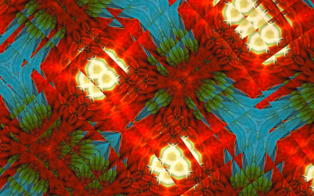 Abstract background from a repeating kaleidoscope view with yellow, blue and red dark and bright lines and shapes coming from the center Banco de Imagens