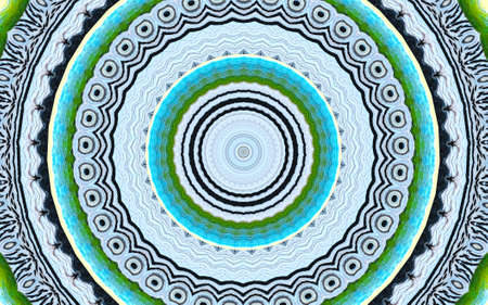 Obstract background from a recurring Kaleidoscope species with green and blue circles and black lines with animal eyes