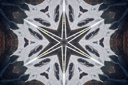 Abstract background from a repeating kaleidoscope view with gray dark and bright lines and shapes coming from the center Banco de Imagens