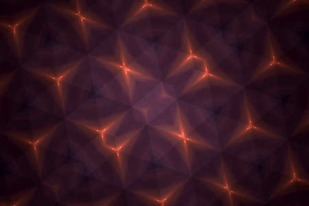 Abstract background from a repeating kaleidoscope view with yellow and red dark and bright lines and shapes coming from the center Banco de Imagens