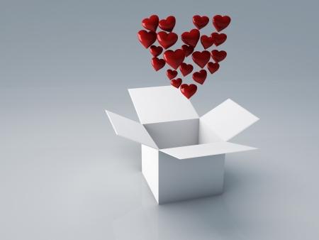white box of heart for Valentine s day, 3d Illustration