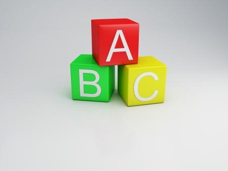 blue 3d blocks: Blocks ABC letters, 3d render Stock Photo
