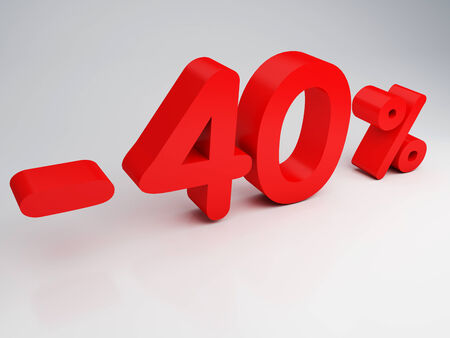 40: 3D rendering of a 40 percent  in red letters