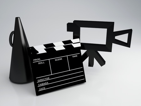 Clapper board and old camera 3d illustration illustration