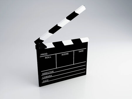 multimedia icons: Clapper board, 3d illustration   Cinema concept