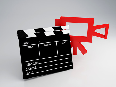 pg: Clapper board and old camera 3d illustration