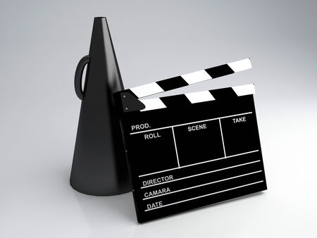 Clapper board, 3d illustration   Cinema concept  illustration