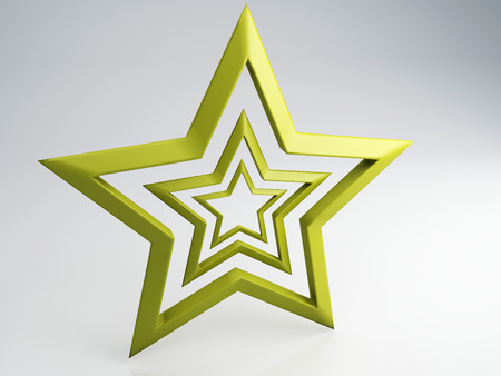 five star: Brushed Gold Star on grey background  Stock Photo