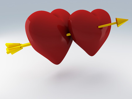 Red heart for Valentines Day 3d render photo