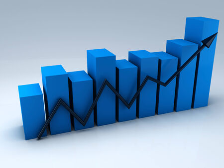 business statistics graph, 3d render photo