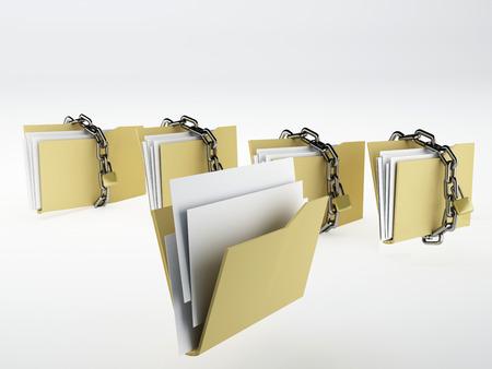 Padlock on folder, Illustration