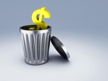 cleaning debt: trash dollar symbol