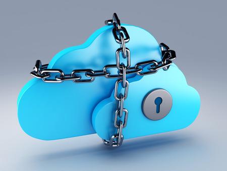 Cloud computing security 3d illustration