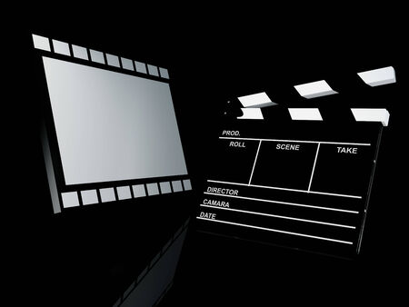 pg: Clapperboard and film reel