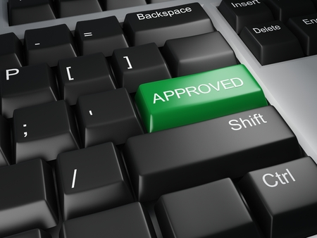 approved button: keyboard with approved button Stock Photo