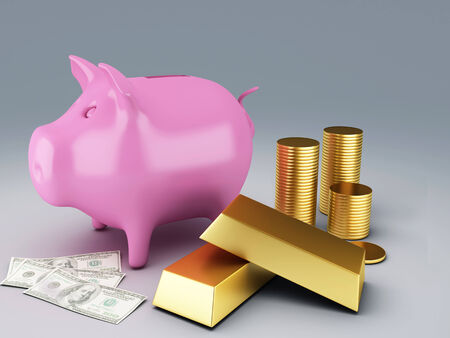 Piggy Bank with gold coins photo
