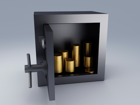 Steel safe box and gold  Protection concept  photo