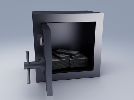 Steel safe box and money stacks photo