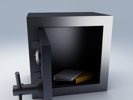 Office folder in Steel safe box 3d illustration illustration