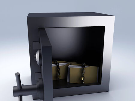 secret padlock folder in steel safe box, 3d illustration  illustration