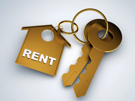 rent: Home key with rent house keychain symbol 3d illustration Stock Photo
