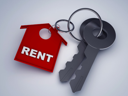 rent: key with rent house keychain symbol 3d illustration