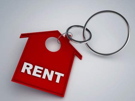 rent: rent house keychain symbol 3d illustration