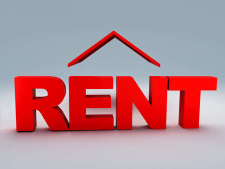 rent: red rent house 3d illustration Stock Photo