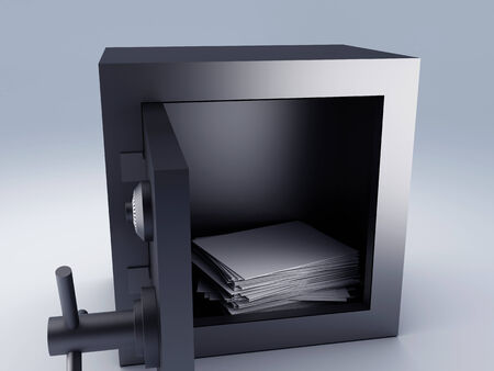 top secret archive paper in steel safe box, 3d illustration  illustration