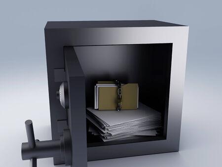 secret archive paper in steel safe box, 3d illustration  illustration