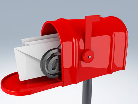 news letter: image of red mail box with heap of letters  3D illustration