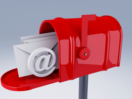 red mail box with at symbol and heap of letters photo
