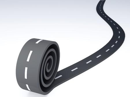 thoroughfare: Abstract asphalt winding  road  3d illustration