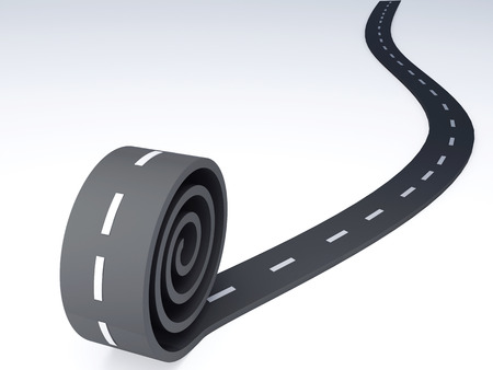 Abstract asphalt winding  road  3d illustration