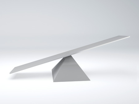 white seesaw  balance concept  3d illustration  isolated white
