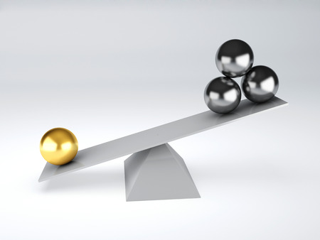 gold and metal spheres in white seesaw  Balance concept  3d illustration