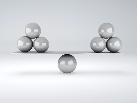 white spheres in equilibrium  3d illustration  isolated white illustration