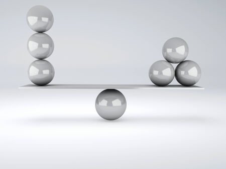 white spheres in equilibrium  Balance concept  3d illustration illustration