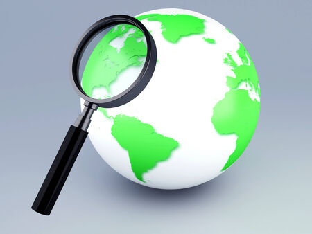 Earth with magnifying glass 3d illustration illustration