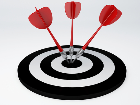 black target with darts  success hitting  3d illustration illustration