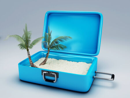 Travel suitcase  summer vacation concept 3d illustration illustration