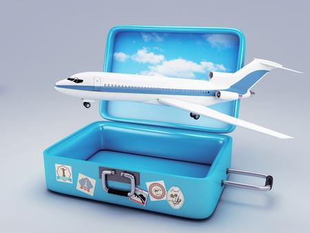 Travel suitcase  summer vacation concept 3d illustration Foto de archivo