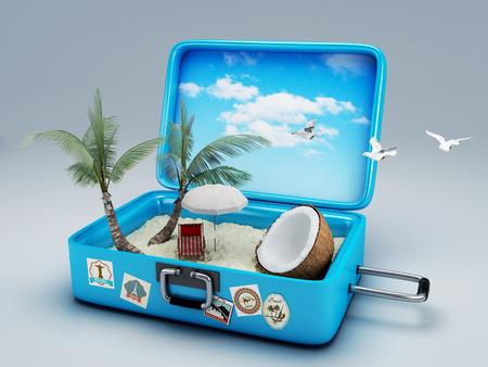 Maleta del recorrido vacaciones de verano concepto 3d ilustración Foto de archivo - 29376980