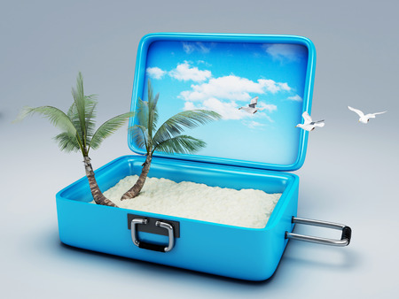 Travel suitcase  summer vacation concept 3d illustration illustration