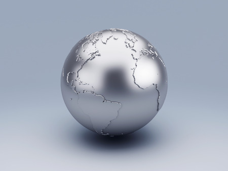 image of  metallic world globe 3d illustration illustration